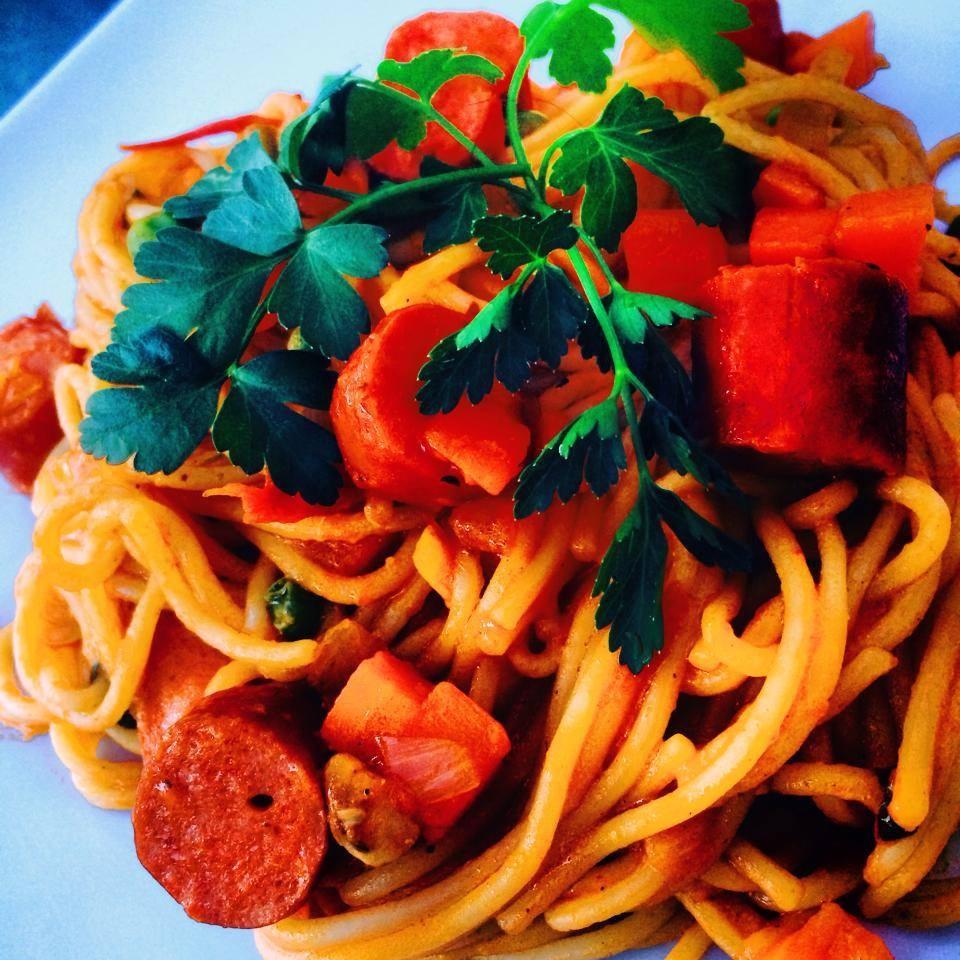 Italian Smoked Chicken Sausage Spaghetti